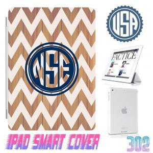 Custom Monogram Wood Print Chevron ..