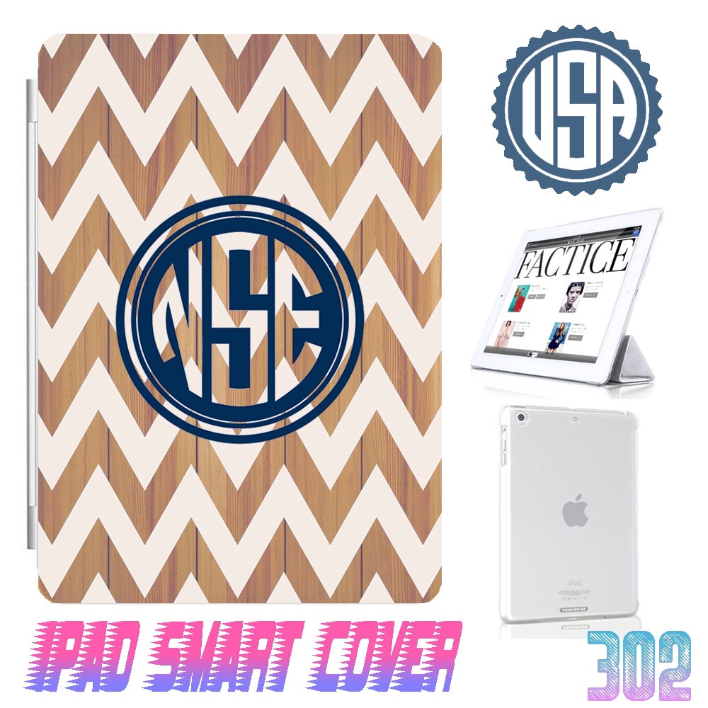 Custom Monogram Wood Print Chevron IPad Air Smart Cover , IPad Mini Smart Cover , IPad 4 Smart Cover , IPad 3 case , ipad 2 Magnetic Sleep Wake Case #302