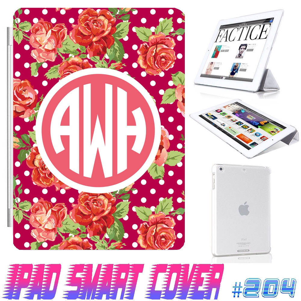 Custom Monogram Flower Floral Print @ IPad Air Smart Cover , IPad Mini Smart Cover , IPad 4 Smart Cover , IPad 3 case , ipad 2 Magnetic Sleep Wake Case #204