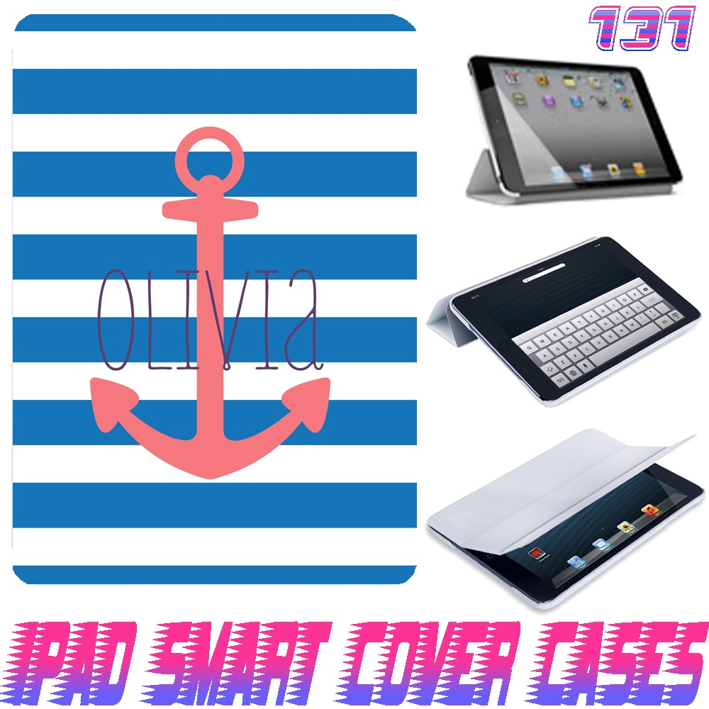 Personalize Monogram Anchor Stripe Print @ IPad Air Smart Cover , IPad Mini Smart Cover , IPad 4 Smart Cover , IPad 3 case , ipad 2 Magnetic Sleep Wake Case