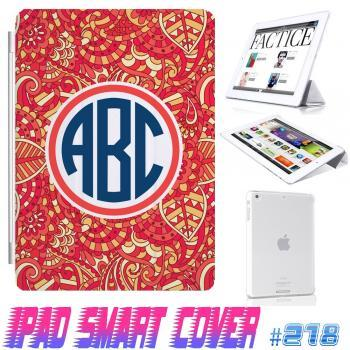 Custom Monogram Flower Floral Print @ IPad Air Smart Cover , IPad Mini Smart Cover , IPad 4 Smart Cover , IPad 3 case , ipad 2 Magnetic Sleep Wake Case