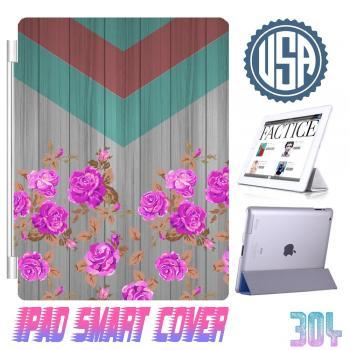 USA Wood Print Chevron Flower IPad Air Smart Cover , IPad Mini Smart Cover , IPad 4 Smart Cover , IPad 3 case , ipad 2 Magnetic Sleep Wake Case #304