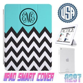 Personalize Monogram Mint Chevron Print @ IPad Air Smart Cover , IPad Mini Smart Cover , IPad 4 Smart Cover , IPad 3 case , ipad 2 Magnetic Sleep Wake Case 301