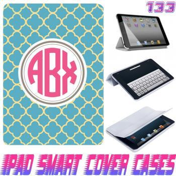 Personalize Monogram Lattice Print @ IPad Air Smart Cover , IPad Mini Smart Cover , IPad 4 Smart Cover , IPad 3 case , ipad 2 Magnetic Sleep Wake Case